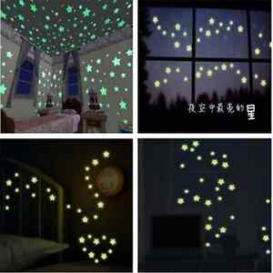 100pcs-Fashion-DIY-Fun-Wall-Green-Light-Glow-In-The-Dark-Star-Kids-Room-Stickers
