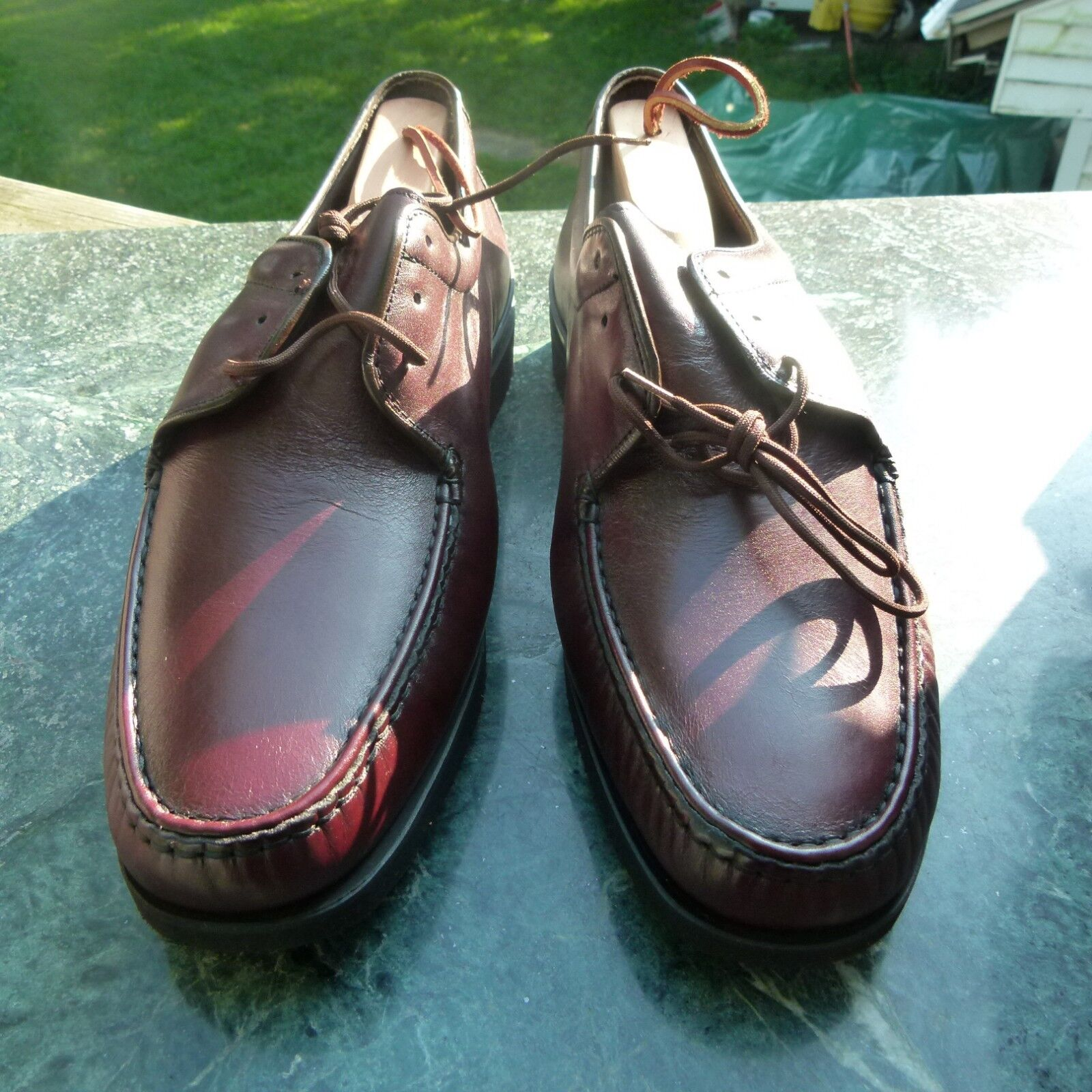 Vintage WRIGHT Hand Sewn Leather shoes E74 Size 10 1 2 B Burg. New in Box