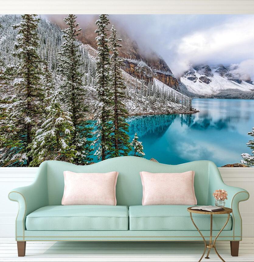3D Lago, albero 1 Parete Murale Foto Carta da parati immagine sfondo muro stampa