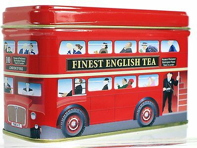"""London Bus""- English Breakfast Tea in London Red Double Decker Bus Tin - MB05"