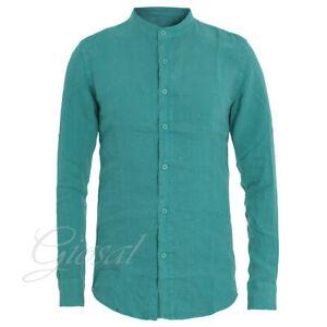Camicia-Uomo-Collo-Coreano-Tinta-Unita-Verde-Petrolio-Lino-Maniche-Lunghe-GIOSAL