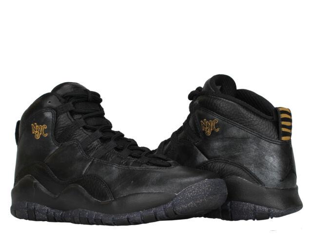 4e15c9eb911d8e Nike Air Jordan 10 Retro BG NYC Black Gold Boy s Basketball Shoes 310806-012