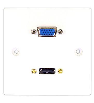 HDMI 1.4 + VGA 15P Sockets SINGLE WALL FACEPLATE + STUB FLY LEAD WALL FACE PLATE