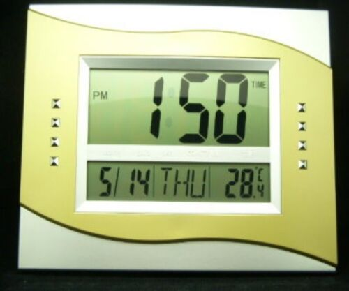 New Trendy Digital Multi Functional Wall Clock Silver//Gold Color