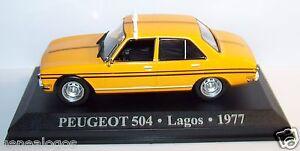ALTAYA-RARO-TAXI-PEUGEOT-504-AMARILLO-1977-LAGOS-NIGERIA-1-43-BL-STER-BOX