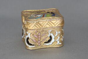 Very-Small-Gold-Tone-Enameled-Bird-Design-Pill-Box