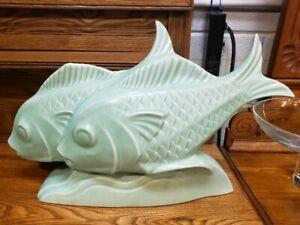 Circa-1930-French-Art-Deco-Le-Jan-Mint-Green-Ceramic-Craquelle-Fish-Sculpture