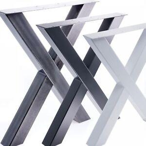 2x-Tischgestell-Tischkufen-Industriedesign-Rohstahl-Tischbeine-Tischuntergestell