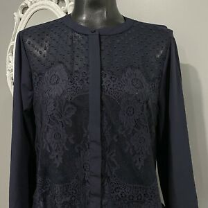 Medium-NWT-ANN-TAYLOR-Womans-Swiss-Dots-And-Lace-Blouse-Shirt-Top