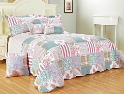 3 Piece Quilted Patchwork Bedspread Throw Single Double King /& Super King Size