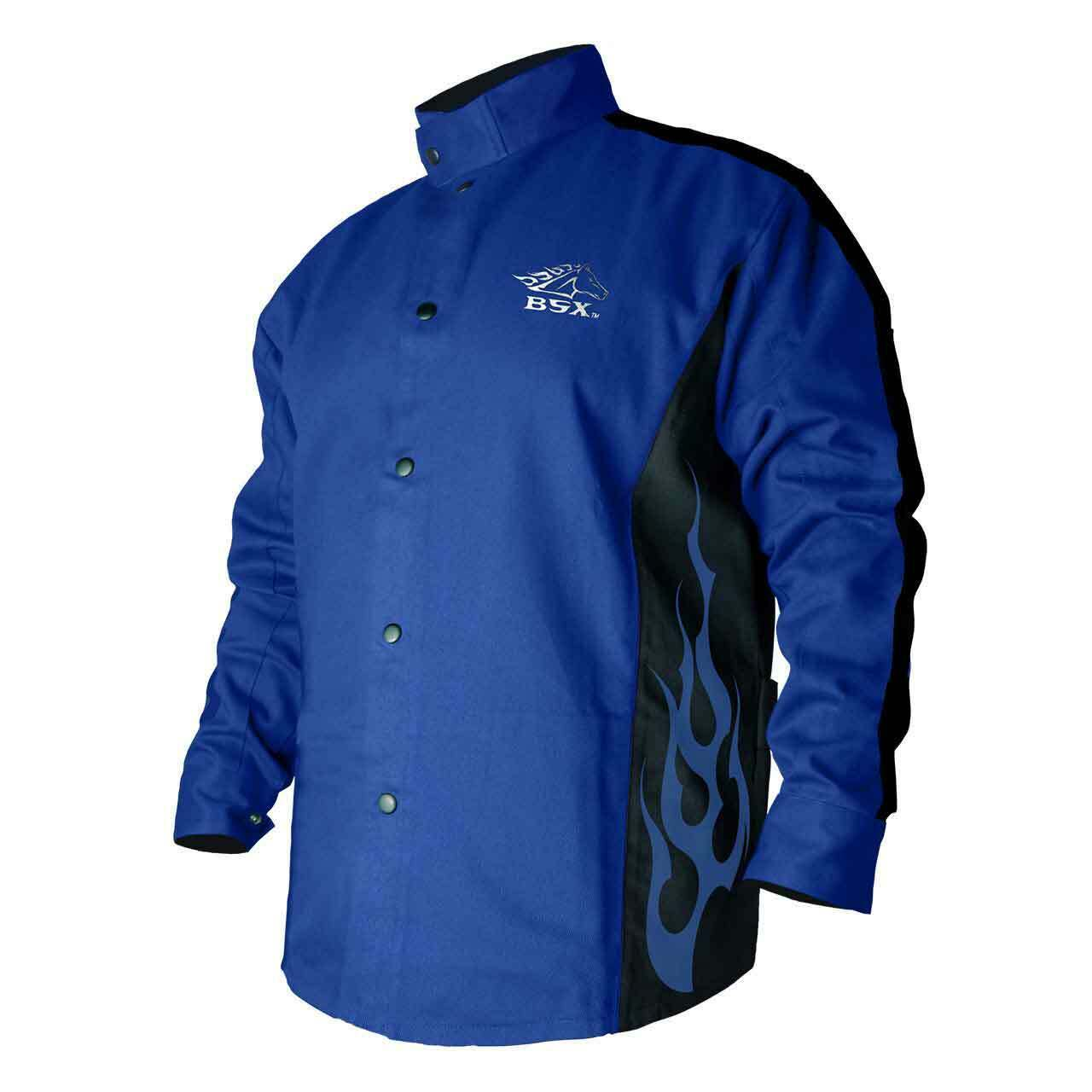 Black Stallion FRB9-30C Hybrid FR Cotton Cowhide Welding Jacket Blue 2X-LRG