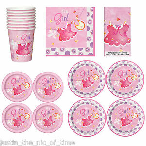 baby shower girls party tableware supplies girl napkins plates cups