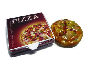 9 Pizza with Take Away Box Dollhouse Miniatures Fast Food Supply Deco
