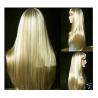 Fashion New Full Wig Hair Long Mix Blonde Cosplay Straight Wig