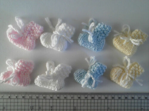 Baby Shower Unisex decoration 4 pair mini Baby Booties  Cards Making baby Craft