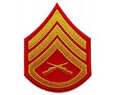 "(00) USMC STAFF SERGEANT CHEVRON 3"" x 4"" iron on patch (5804) Military"