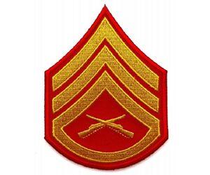 """G43 Military 5804D USMC STAFF SERGEANT CHEVRON 3/"""" x 4/"""" iron on patch"""