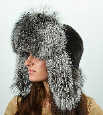 Saga Furs Silver Fox /& Black Mink Fur Winter Trapper Ushanka Aviator Ski Hat