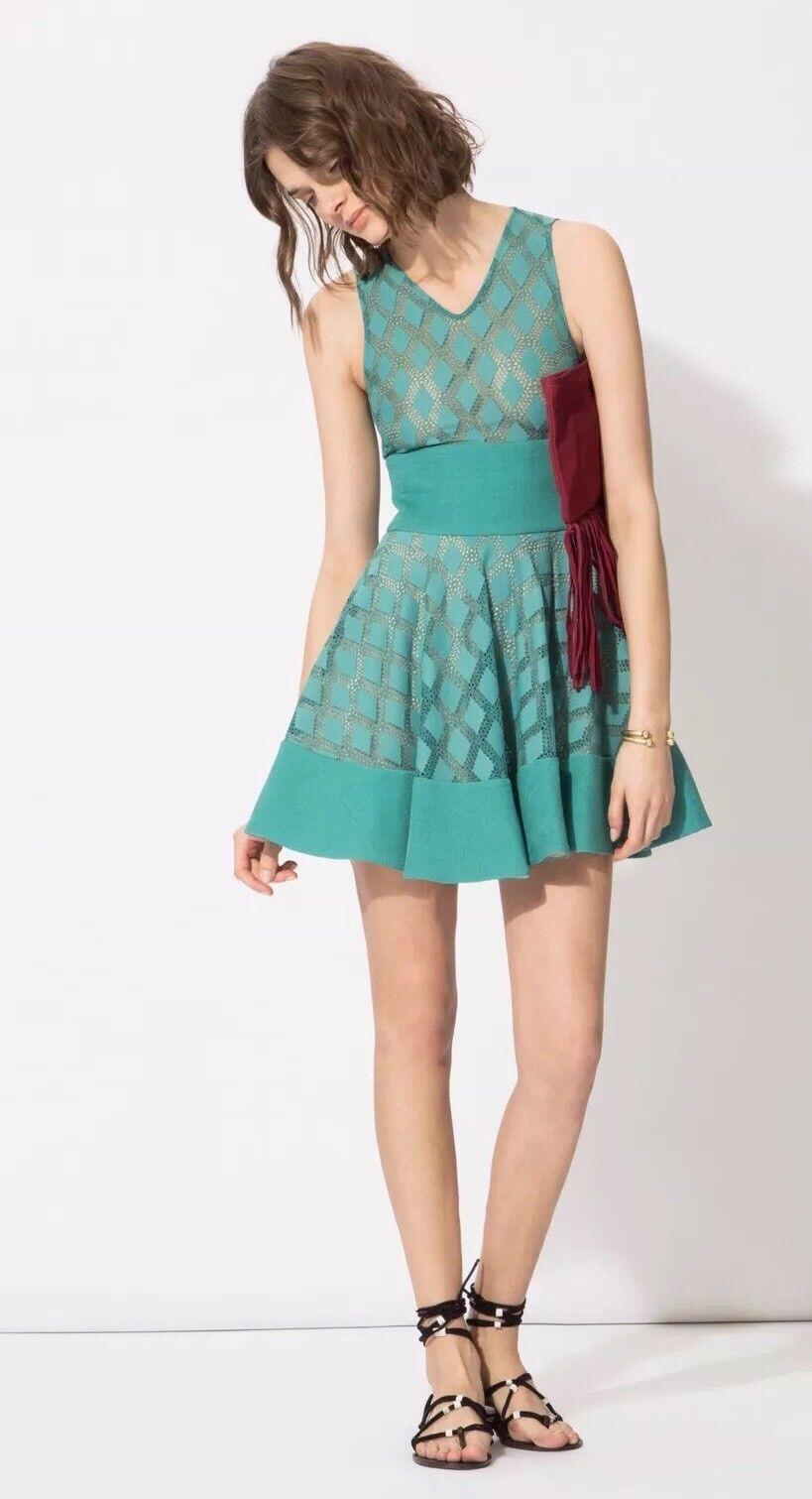 475  ️ MAJE RISANGE Flare diamond lace dress Sz 1 SMALL