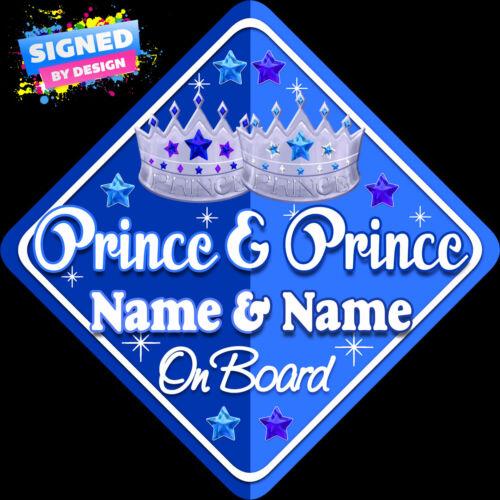 Personnalisé prince /& Prince Enfant Bébé À Bord Voiture Signe NOUVEAU BLEU ~ bleu!