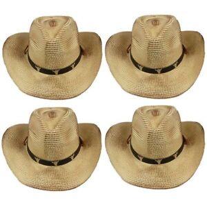 BULL COWBOY HAT Western BROWN BLACK Cap Cowgirl Raffia Cap MEN WOMEN ... c88c3b8a924f