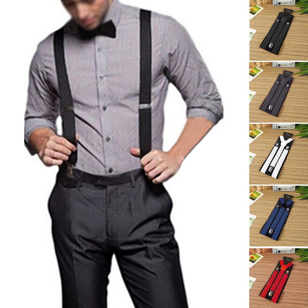 25mm Wide Mens X-Back X-Shape Heavy-Duty Trousers Brace Suspenders W/ Clips NEW