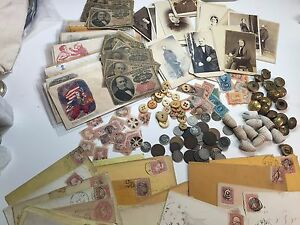 13-PC-CIVIL-WAR-LOT-CSA-UNION-BUTTON-COINS-CURRENCY-PHOTOS-STAMPS-POLITICAL-D30