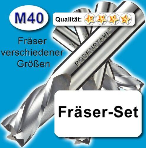 M40 FräserSet D=5-6-8-9mm für Edelstahl Alu Messing Holz Kunststoff Z=2