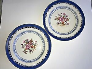 2-Vintage-Booth-039-s-Silicon-China-Lowestoff-Border-Dinner-Plates-With-Flowers