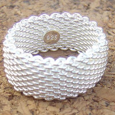 SZ 3 ~11 Designer Inspired 925 Sterling Silver 9mm wide Flexible Mesh Band Ring