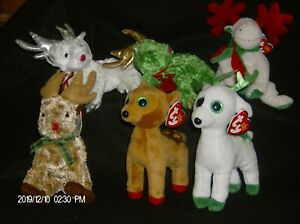 Ty Beanie Babies Christmas Themed Bears, Dogs, Reindeer, Moose & Many More New