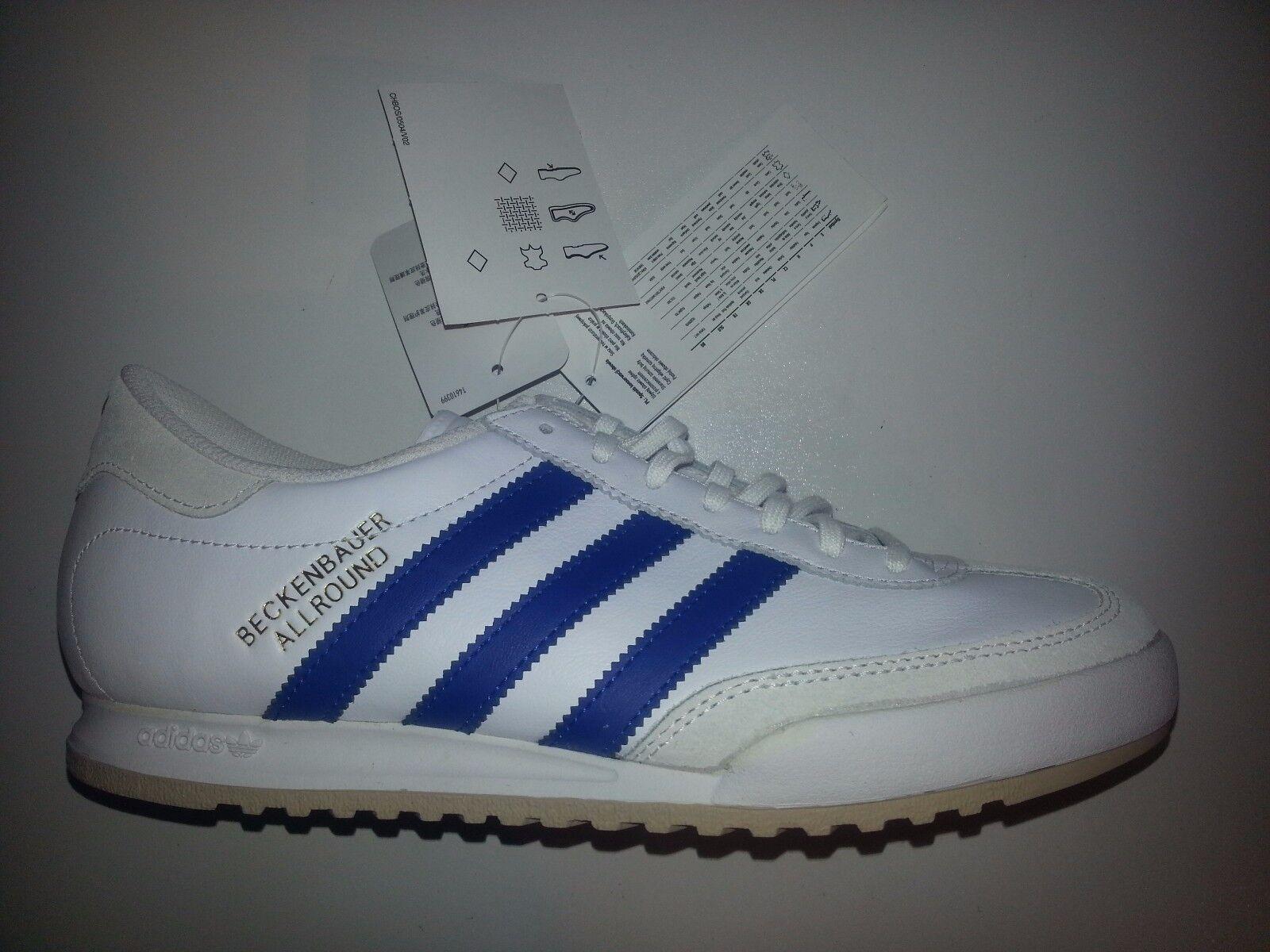 Adidas Beckenbauer Leder Sportschuhe unisex Farbe weiß-royalblau Größe 40 NEU