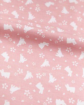 Two Types of Japanese Pink Cotton Fabric with Lovely White Rabbits 1/2 Yard