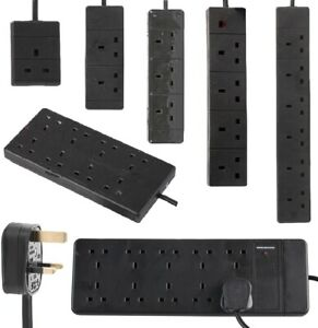 Black-Mains-Extension-Lead-UK-Cable-Electric-Plug-Trailing-Socket-1-to-10-Way