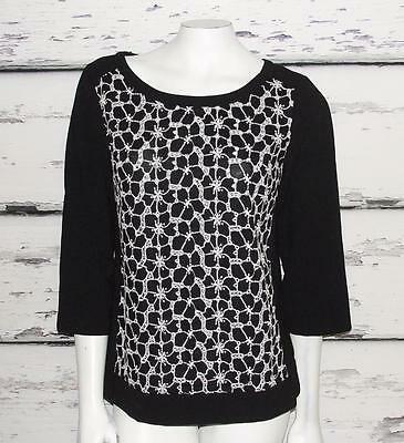 ANN TAYLOR~BLACK & WHITE *ABSTRACT FLORAL EMBROIDERY*  3/4 SLEEVES BLOUSE TOP~6