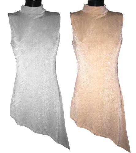 Womens Party Dress Turtle Neck Sleevless Dress Ladies Asymmetric Cut High Neck