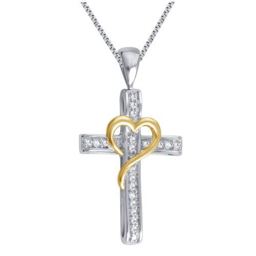 Silver Overlay et Goldtone sur cœur diamant Accent Pendentif Croix par unique Desi