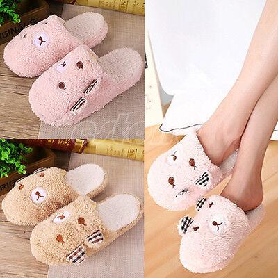 New Cute Women Lady Bear Velvet Anti slip Slippers Indoor House Soft Warm