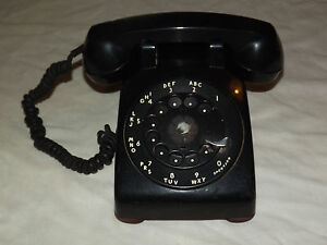 VINTAGE-BELL-SYSTEM-PROPERTY-WESTERN-ELECTRIC-BLACK-ROTARY-DIAL-PHONE