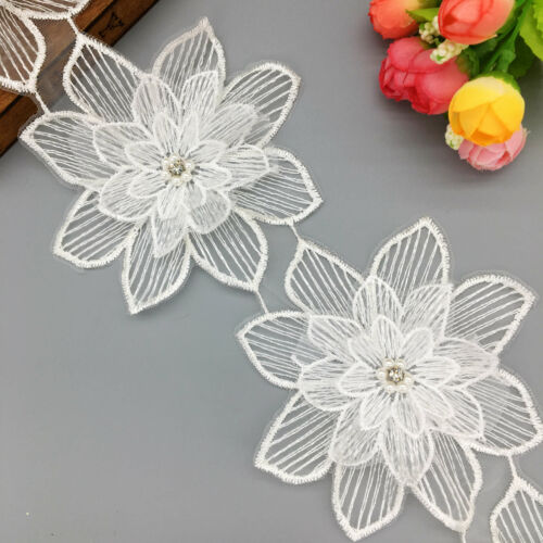 1 yd Pearl Flower Lace Trim Fabric Ribbon Diamond Wedding Dress Applique Sewing