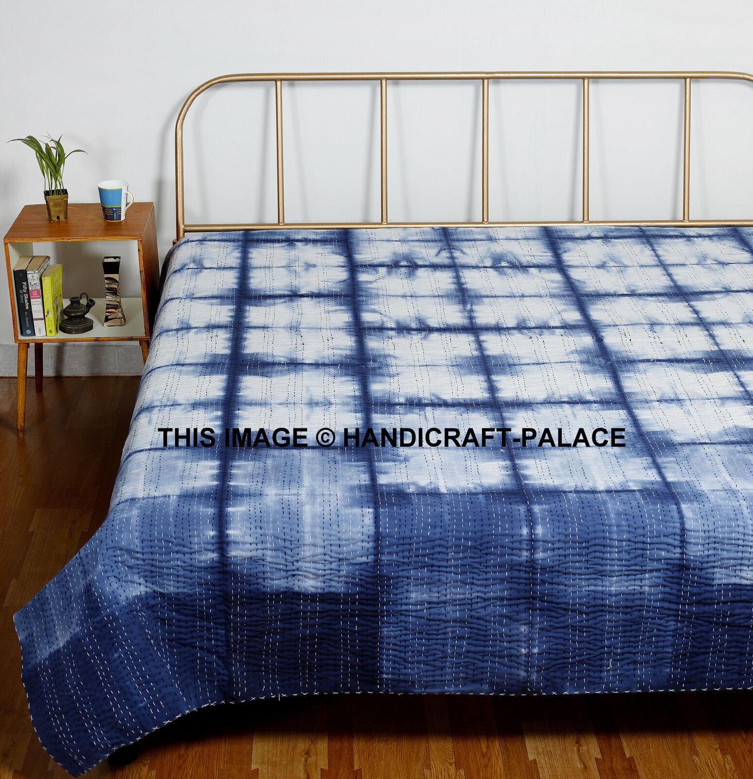 Kantha Quilt Indigo Blau 100% Pure Cotton Hand Tie Dye Shibori Königin Größe Throw