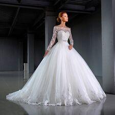 LONG SLEEVE APPLIQUÉ BALL GOWN WEDDING DRESS. BRIDAL GOWN. REGULAR/PLUS SIZE.