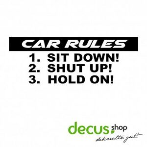 Car-Rules-Sticker-JDM-Aufkleber-Frontscheibe