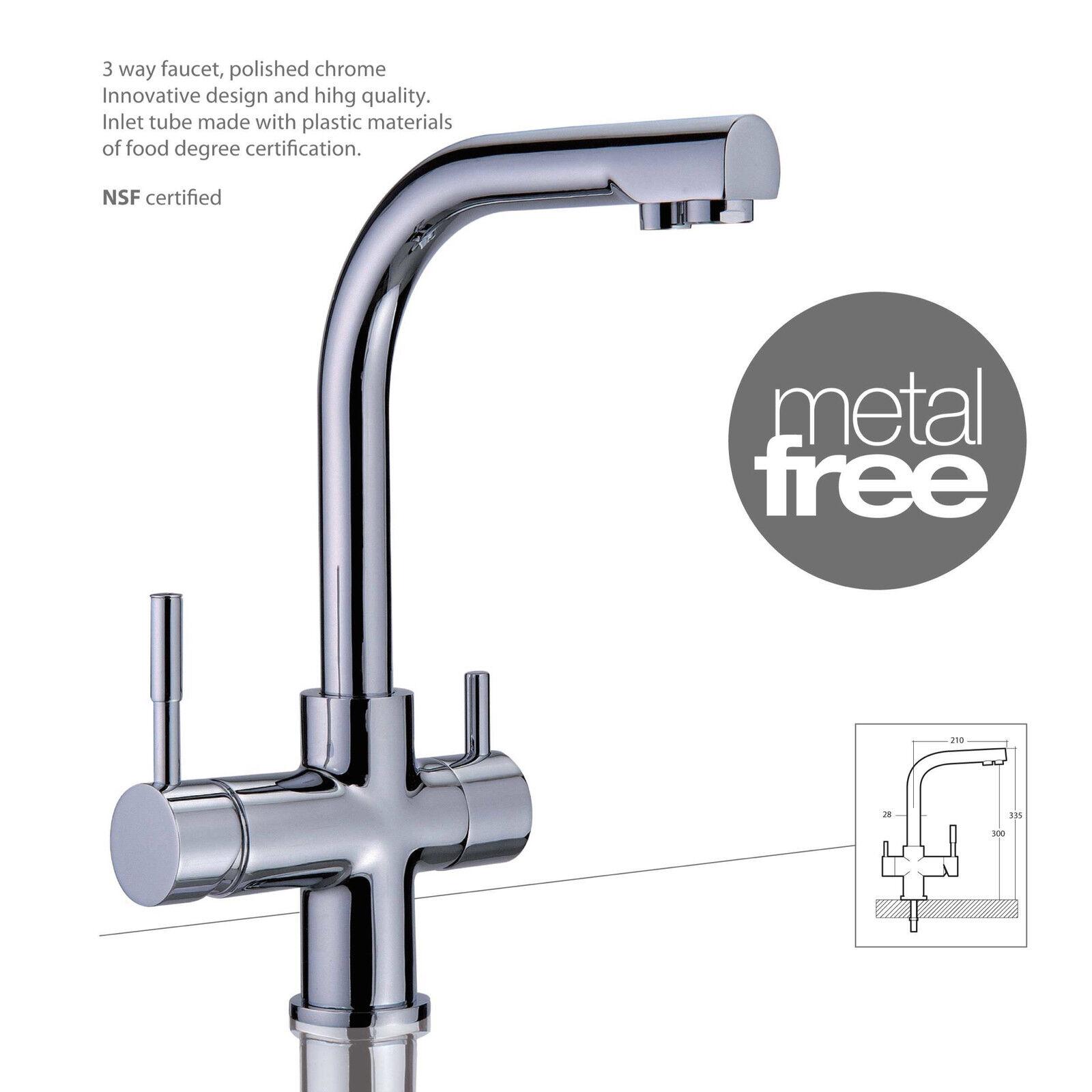 Trois voies robinet Mercury metal free, chrome robinet de cuisine évier
