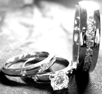 3 his hers STAINLESS STEEL and STERLING SILVER wedding bridal matching ring set