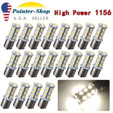 20x Natural White 1156 BA15S 18smd RV Trailer Tail Backup Reverse LED Light Bulb