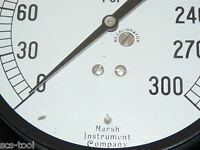 Vintage Marsh Instrument Co H5258 300 Psi Precision Pressure Gauge 4.5 Dial Usa
