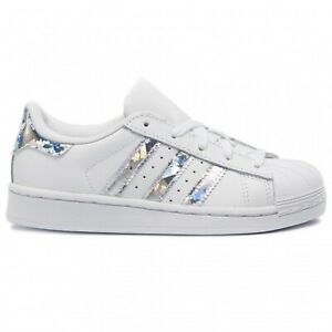 online retailer d2fc0 11a9a Caricamento dell immagine in corso ADIDAS-SUPERSTAR -C-BIANCO-ARGENTO-IRIDESCENT-Sneakers-Bambina-