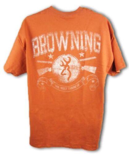 Mens NWT Browning Union Guns Short Sleeve Buckmark T-Shirt Texas Orange Size XL