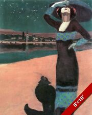 WOMAN IN DRESS W BLACK CAT AT NIGHT F GEZA PAINTING ART REAL CANVAS PRINT